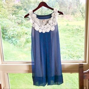 Anthropologie sheer blue dress with white flowers
